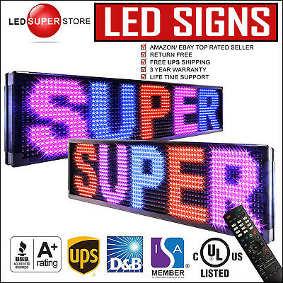 """Led Super Store: 3c/rbp/ir/2f 12""""x79"""" Programmable Scroll. Message Display Sign"""