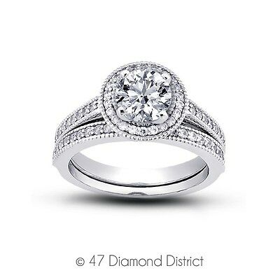 1.14ct. Tw. I-si3 Ex Round Natural Diamonds 950 Plt. Halo Vintage Bridal Set 11g