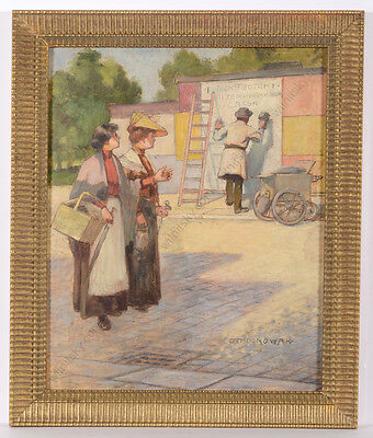 """Otto Nowak (1874-1945) """"the New Poster"""", Oil Painting, 1900/1910"""