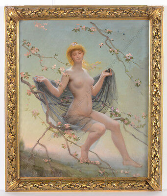 "C. Garneray (french Artist) ""allegory Of Spring"", Oil On Canvas, 1881"