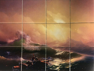 Ivan Aivazovsky The Ninth Wave 12 Ceramic Tile Mural 4.25 Inch Or 6 Inch Tiles