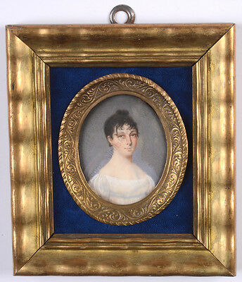 "Johann Erdmann Hummel (1769-1852) ""lady In White Gown"", Fine Miniature, 1808"