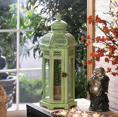 Asian Oriental Sitting Hanging Tall Green Tower Lantern Planter Candle Holder
