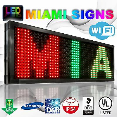 """Led Sign Wireless 19"""" X 63"""" Wi-fi 10mm Pitch Temperature Sensor 3 Colors Outdoor"""
