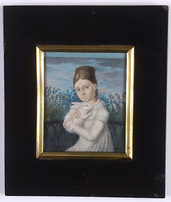 """""""girl With Her Favorite Rabbit"""", Fine German Miniature On Organic Wafer, 1815"""