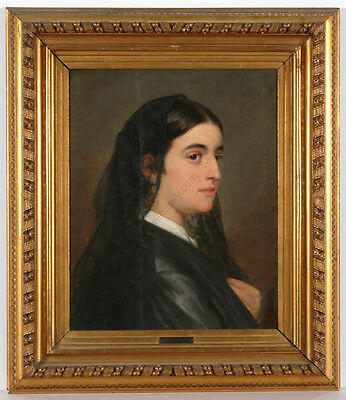 "Carl Rahl (1812-1865), ""female Portrait"", Oil On Canvas, 1849"