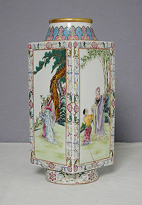 Chinese  Famille  Rose  Porcelain  Square  Vase  With  Mark     M1609