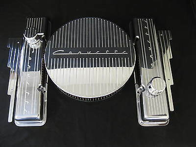 Corvette Small Block Chevy Aluminum Valve Covers Set Tall Vintage Rat Rod Sb V8