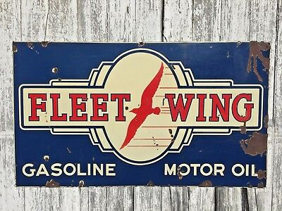 Original Fleet Wing Gasoline Motor Oil Double-sided Porcelain Sign