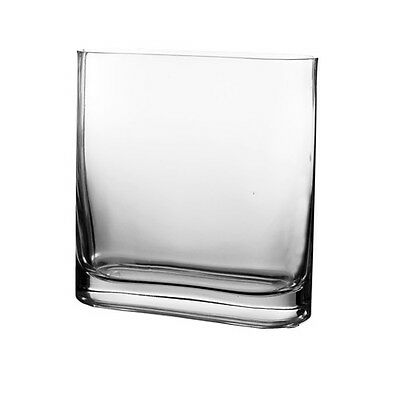 """Clear Glass Rounded Rectangle Squarish Vase H-7.5"""" Home Wedding Floral Decor 1pc"""