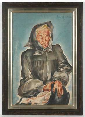 "Vladimir Barjansky ""portrait Of A Russian Old Woman"", Oil Painting, 1920s"