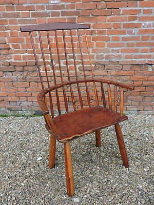 18th Century Primitive Welsh Antique Yew Wood Comb Back Windsor Armchair