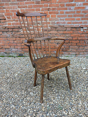 18th Century Primitive English Antique Comb Back Windsor Armchair, Circa 1780