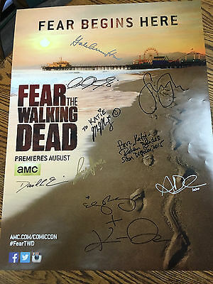 Fear The Walking Dead Cast Signed By 10 Poster Sdcc San Diego Comic Con Ftwd