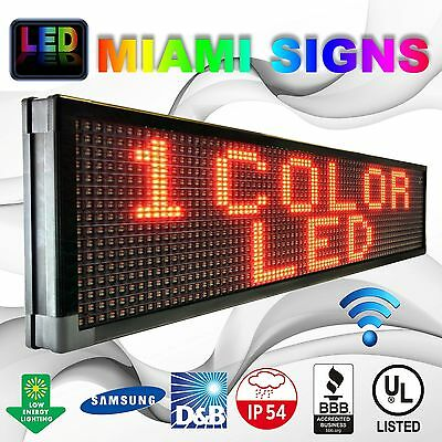 """Led Sign 25"""" X 75"""" Outdoor Wi-fi Connection Hd 10mm Led Display Red Made In Usa"""