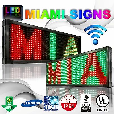 """Led Sign Double Sided Wi-fi Size 13"""" X 50"""" 10mm Programmable Wireless Pc Usa"""