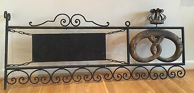 19th Cent Antique Bakery Trade Sign Crowned Pretzel Swedish Bager