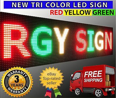 """Outdoor New Bright Led Sign 20"""" X 88"""" Red Yellow Green Open Still Scrolling Text"""