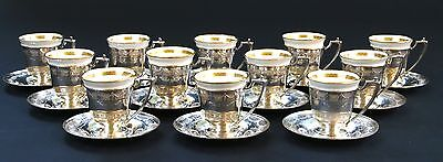 12 Vintage Sterling Silver Demitasse Cups With Saucers, Lenox Liners