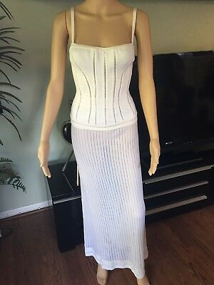 Azzedine Alaia Sexy Fitted Vintage Skirt And Bustier Top Set Size Xs Fr 36