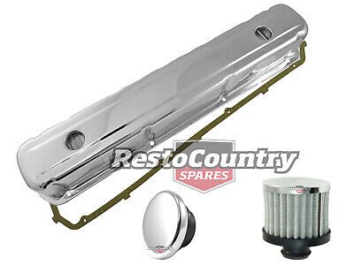 Holden 6 Cyl Chrome Rocker Cover + Oil + Breather +gasket Kit Smooth 149 186 202