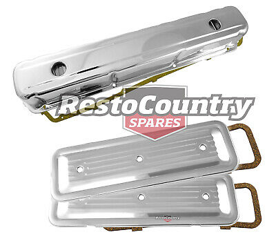 Holden 6 Cyl Chrome Rocker Cover + Side Plate Set Smooth Std Height 149 186 202