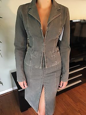vintage chanel runway denim sexy skirt and jacket set suit fr 36 us 4 so cute