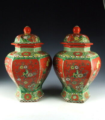 Pair Of China Antiques Red&green Coloring Lidded Porcelain Pots