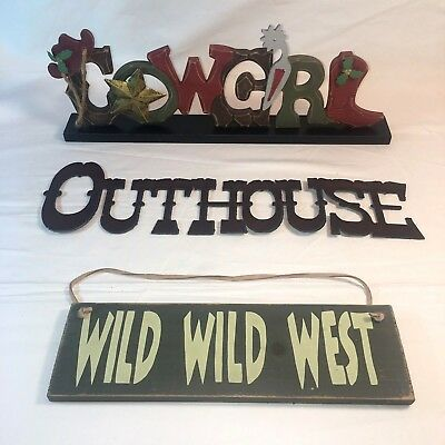 Lot Of 3 Signs Cowgirl-wild Wild West-outhouse Western Decor Rustic Cowboy Rodeo