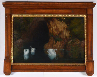 "Arnold Boecklin-follower ""swan Grotto"", Oil On Canvas, Late 19th Century"