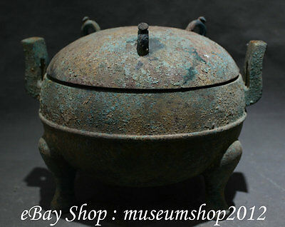 "11""old Chinese Dynasty Bronze 3 Foot Handle Vessel Ware Water Food Pot Jar Crock"