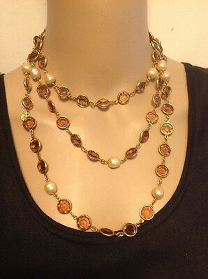 """Chanel Long 56"""" Pearl Crystal Sautoir Necklace Amber Gripox Gold Vintage 1981 Cc"""