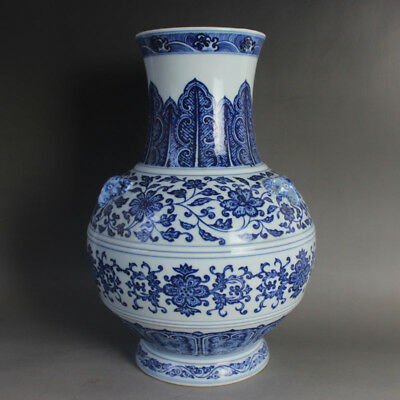 127 Rare Chinese Old Collection Blue-and-white Flower Pattern Porcelain Vase