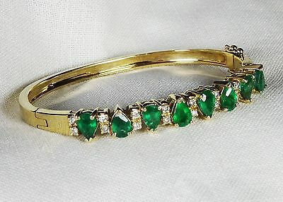 Emerald Diamond 14k Yellow Gold Bangle Bracelet, 22.6g 7.95tcw, Vintage Estate