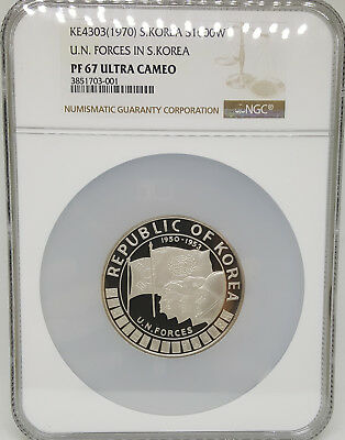 Korea 1970 Un Forces Silver Coin S/n #6 - No.6 Is Very Low Number Ngc 67