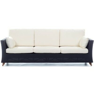 All Things Cedar Pr90w Rattan 4 Seater All Weather Wicker Sofa With Cushion, Whi