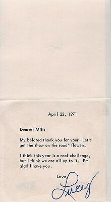 Lucille Ball Signed 1971 Letter Card Bas Beckett Coa To I Love Lucy Show Writer