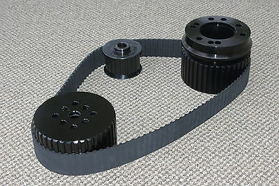 Black Small Block Ford 351c 351 Cleveland Gilmer Belt Drive Pulley Kit Sbf
