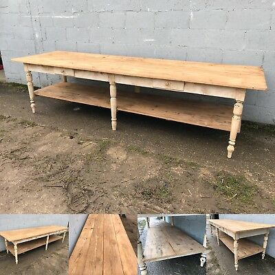 10ft+ long, antique french drapers table, vintage, original, bakers shop display