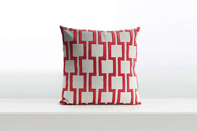 Red Geometric Embroidery Pillow Cotton Linen Cushion Cover Home Decor Throw Pill