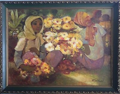 original oil on canvas impressionist painting signed,girls flowers 1950s