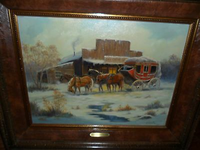 """original western oil painting by marianne caroselli """" cold journey"""" 18"""" x 24"""""""
