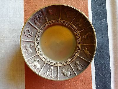 Vintage Chinese Calendar Brass Bowl Ashtray  Year Of Horse Rooster Snake Monkey
