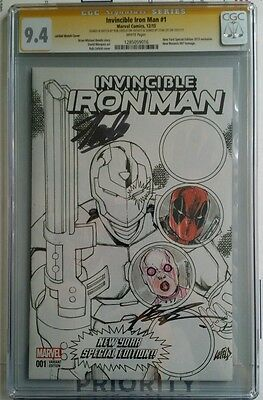 Invincible Iron Man #1 2015 Cgc 9.4 Ss Stan Lee & R Liefeld W/2 Remarks **rare**
