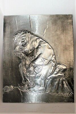 Large Signed Norwegian Pewter Troll Picture Norway Tinn Gnome Wall Plaque Vtg