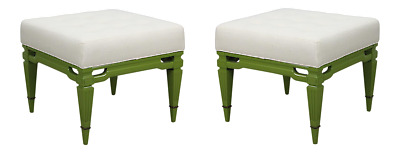 Mid-century Cream Linen Benches, A Pair, Upholstered Linen Benches