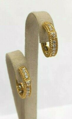 Judith Ripka .50ctw Diamond Hoop Earrings 18k Yellow Gold Pierced Retired