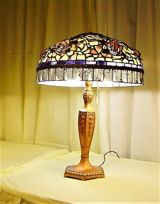 Authentic Northeastern Lamp Co. Handmade Leaded Shade With Raised Pink Roses  .