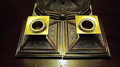 Louis Comfort Tiffany Furnaces Bronze & Enamel Candle Holders  Orig.c.1897-1924