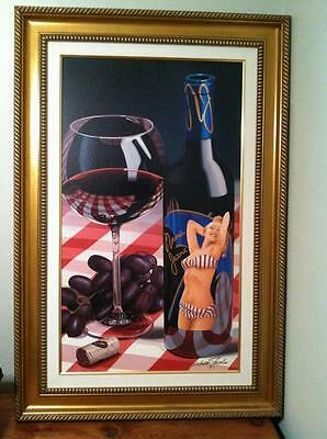 Scott Jacobs Summer Red Framed Giclee On Canvas-rare-excellent Con. Signed/numbe